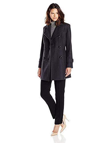 Anne Klein Women's Classic Double-Breasted Coat, Charcoal, LG