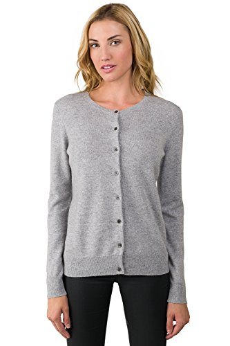 JENNIE LIU Women's 100% Cashmere Button Front Long Sleeve Crewneck Cardigan Sweater (S, Grey)