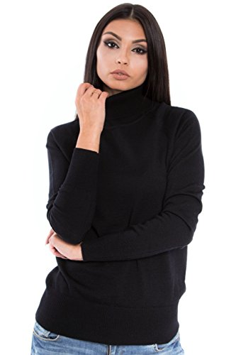 KNITTONS Women's Cashmere Soft Merino Wool Turtleneck 310gr Sweater Pullover Top (X-Large, Black)