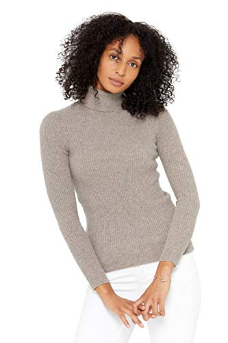 State Cashmere Ribbed Turtleneck Sweater 100% Pure Cashmere Long Sleeve Pullover for Women (Winter Twig, Medium)