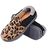 Snug Leaves Women's House Woolen Knitted Memory Foam Slippers Breathable Leopard Indoor/Outdoor Shoes with Adjustable Elastic Gores (Leopard Black,...