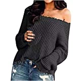 Womens Sexy Off Shoulder Sweaters Cable Knit Oversized Long Sleeve Pullovers Loose Fit Lightweight Solid Jumper Tops