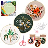 Santune 3 Sets Embroidery Starter Kit with Pattern and Instructions, Cross Stitch Set, Stamped Embroidery Kits with 3 Embroidery Clothes with Plants...