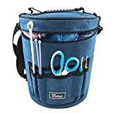 BeCraftee Yarn Bag/Knitting Bag. Portable, Light and Easy to Carry. Yarn Storage Bags Have Pockets for Crochet Hooks & Knitting Needles. Slits on Top...