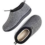 ULTRAIDEAS Men's Cozy Memory Foam Woolen Slippers with Elasticated Collar, Warm Closed Back House Shoes with Indoor Outdoor Rubber Sole (Dark Grey,...
