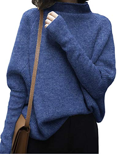 Liny Xin Women's Oversized Chunky Winter Wool Half Turtleneck Batwing Sleeve Knitted Pullover Sweater (S, Flower Blue)