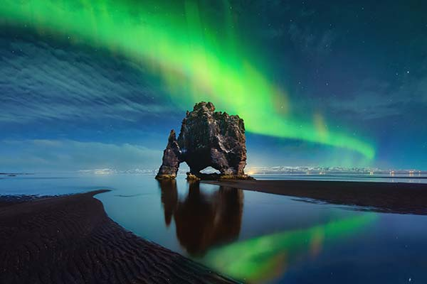 Hvitserkur-Bright Green Aurora