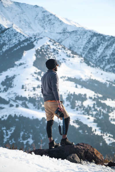 A hiker in Winter with Camera