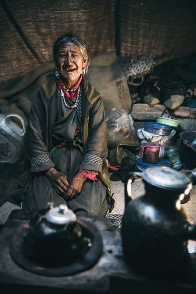 old Nomadic woman in tent